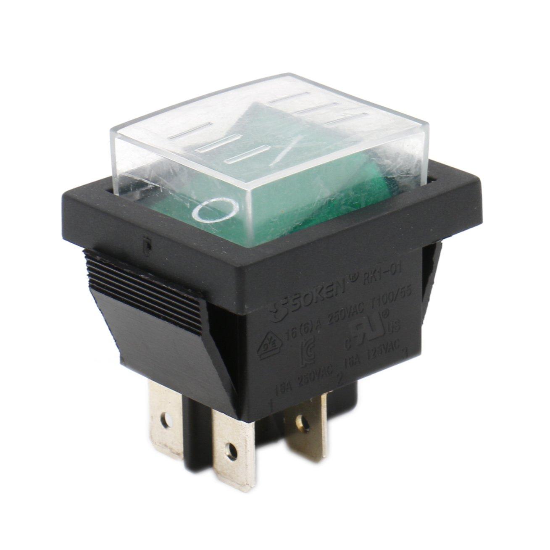 Heschen Rocker Switch ON-OFF DPST 4 Terminals Green Light 16A 250VAC with Waterproof Cover Ningbo Master Soken Electrical Co.Ltd RK1-01-HS-G