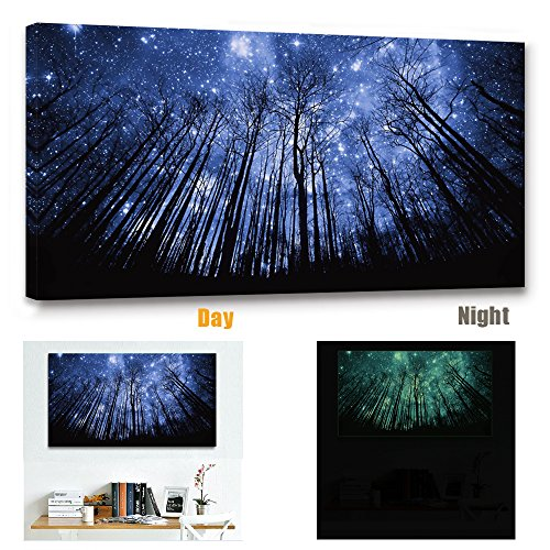 Lightonight Canvas Wall Art Starry Wall Decor Art Prints Forest Painting for Living Room Wall Decor Glow at Night Framed and Stretched Ready to Hang Canvas Print Artwork ()