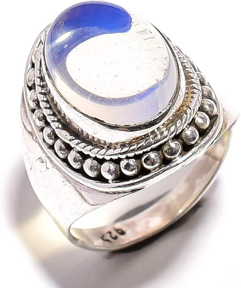 mughal gems & jewellery Anillo de Plata esterlina 925 Anillo de joyería Fina de Piedras Preciosas de ópalo lechoso Natural para Damas (Tamaño 7 U.S)