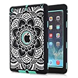 iPad Air Case, Hocase Rugged Shock Absorbent Hybrid Double Layer Hard Rubber Protective Case Cover with Stylus for Apple iPad Air (5th Gen iPad, 2013 Release) - Black Flower Print / Mint Green