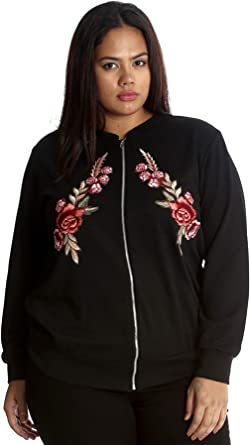 Embroidered Twin Floral Patch Bomber Jacket Black 16