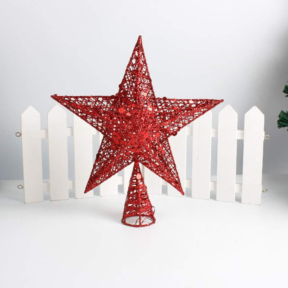 hudiemm0B Xmas Tree Topper,Glitter Star Xmas Tree Topper Decoration Iron Christmas Party Indoor Ornament Christmas Decoration Christmas Supplies