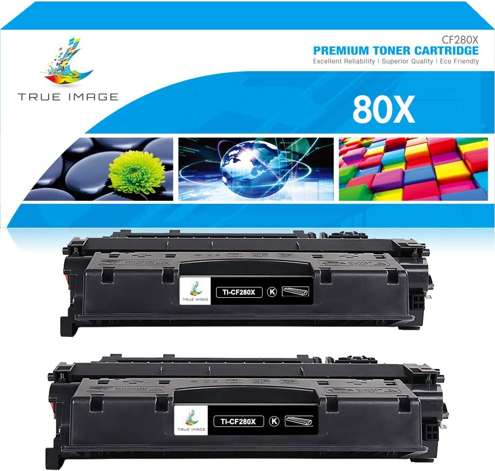 True Image Compatible Toner Cartridge Replacement for HP 80A CF280A 80X CF280X Laserjet Pro 400 M401n M401dne M401dn M401dw MFP M425dn M401dw M401A M401d M401 M425 Printer Ink (Black, 2-Pack)