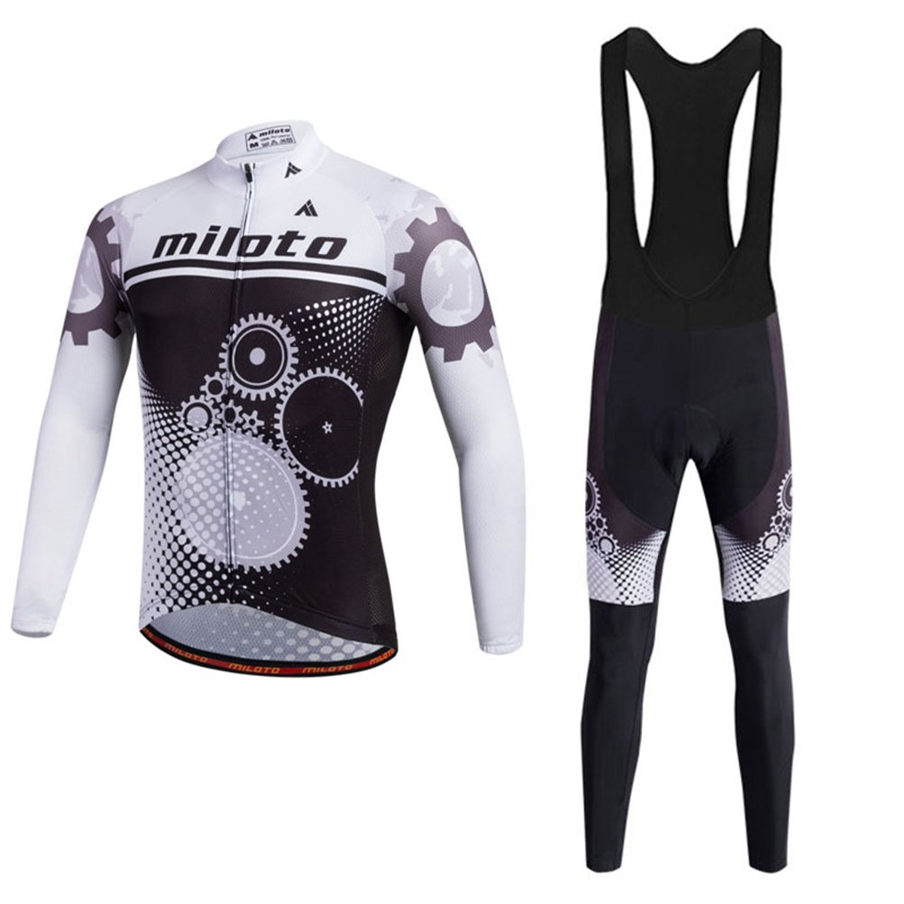 Uriah Men 's Cycling Jersey Bibパンツブラックセット長袖反射 B074L16F93 Chest 36.2''=Tag S|Running Gear Running Gear Chest 36.2''=Tag S