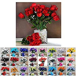 Efavormart 84 Artificial Buds Roses Wedding Flowers Bouquets for Party Event Decoration 17