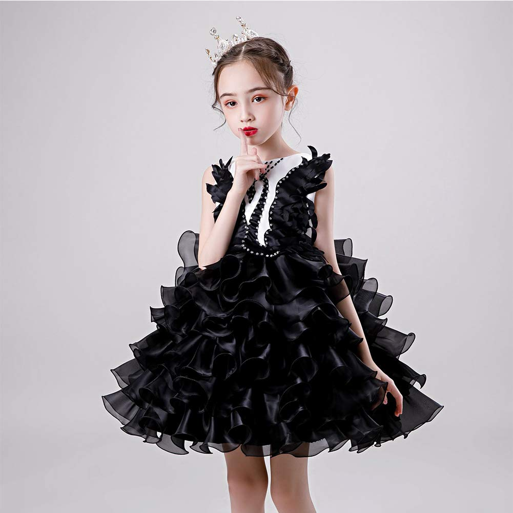 ZZAZXB Tutu Disfraz de Princesa de Niñas, Cisne Negro Vestido de ...