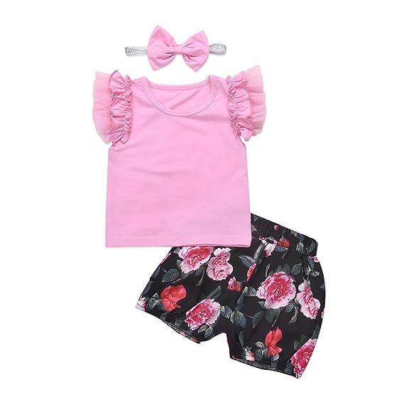 4024486f04bce MIOIM ベビー服 子供服 上下セット 女の子 フリル 半袖 花柄 PPパンツ 頭巾 三点