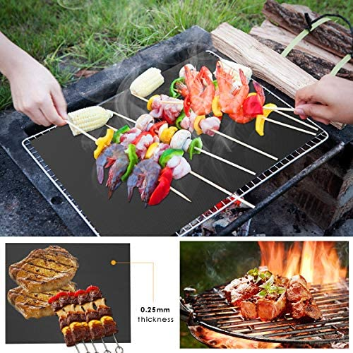 NA Lot de 6 tapis de grill réutilisables anti-adhésifs résistants à la chaleur avec deux brosses à huile pour barbecue 5,7 x 19,7 cm