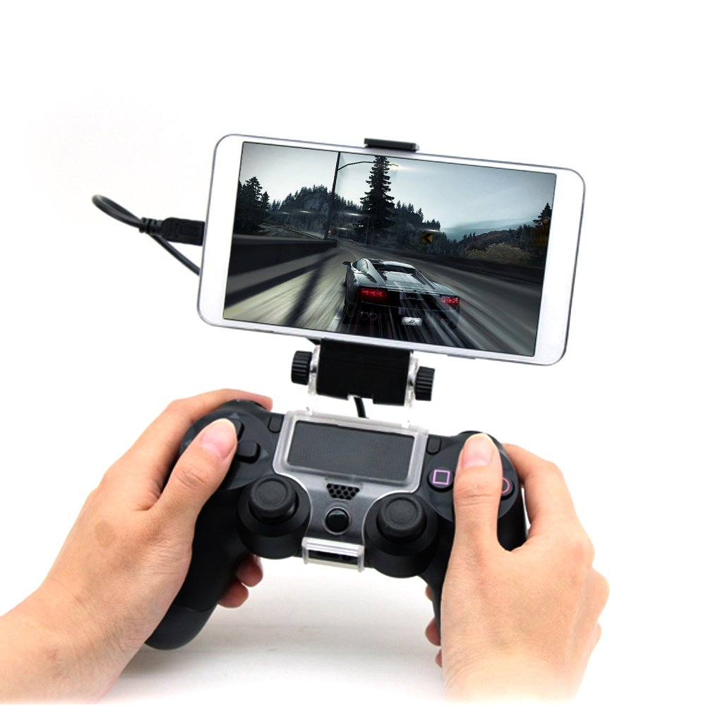 Hitechway PS4 Controller Gaming Holder, 180 Degrees Spiral Holder for Below 6 inches Android Phone, slim, pro