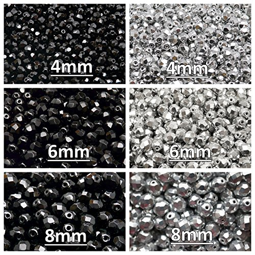 Glass Beads Round 4mm, 6mm, 8mm, Two colors. Set 2CFP 010 (4FP001 4FP033 6FP001 6FP033 8FP001 8FP033) ()
