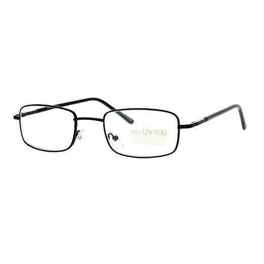 dd3638a863b Small Thin Metal Rectangle Clear Lens Eyeglasses Spring Hinge Glasses Black
