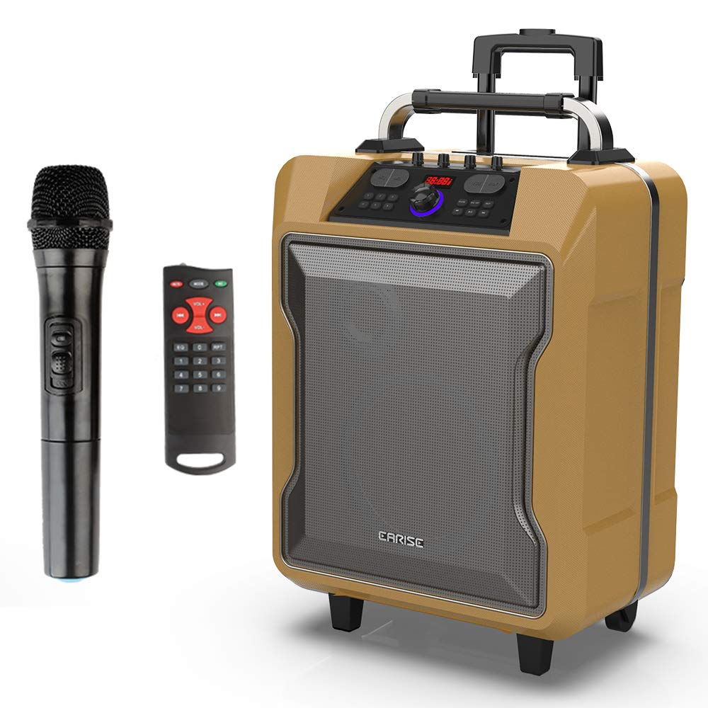 EARISE M60 Portable PA System Work with Bluetooth USB Charging /& Wheels,Blue Telescoping Handle DJ Karaoke Amplified Loudspeaker with 2 Wireless Microphone Aux Input 10 Subwoofer Remote Control