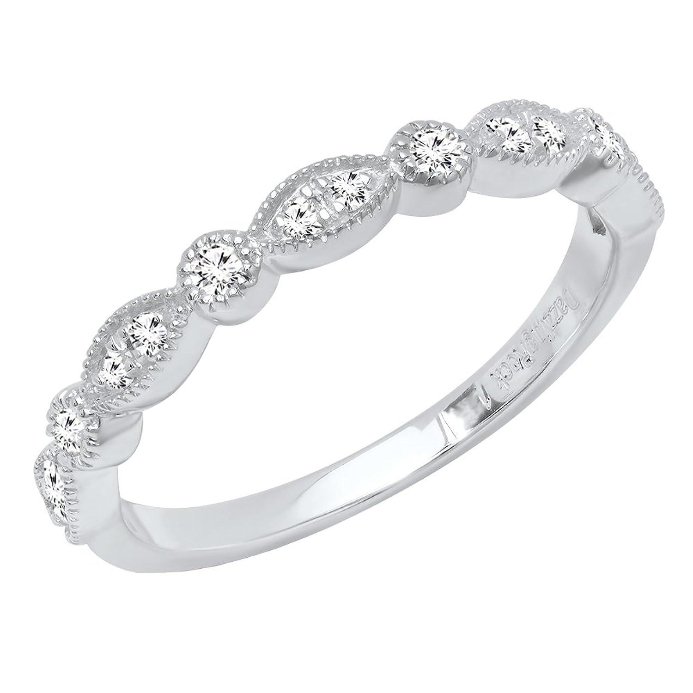 0.25 Carat (ctw) 10K Gold Round Diamond Ladies Vintage Style Anniversary Wedding Band 1/4 CT