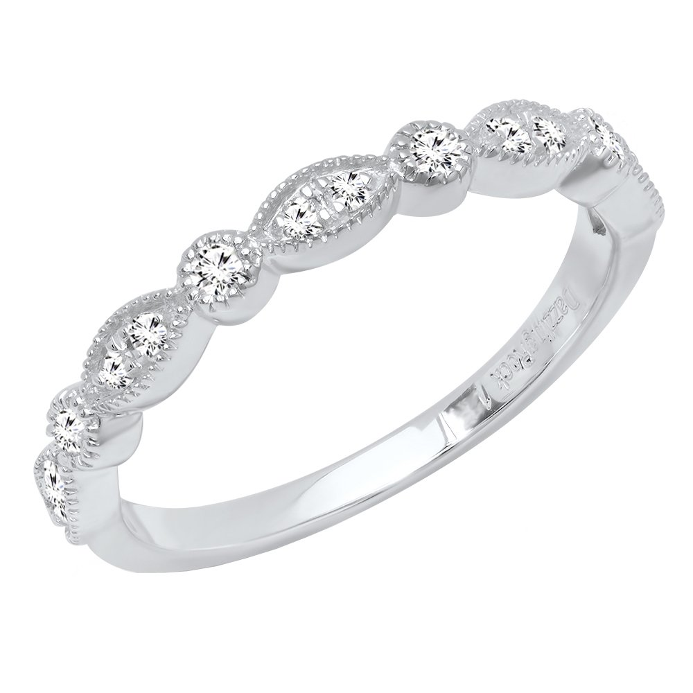 0.25 Carat (ctw) 10K White Gold Round Diamond Ladies Vintage Style Wedding Band 1/4 CT (Size 7)