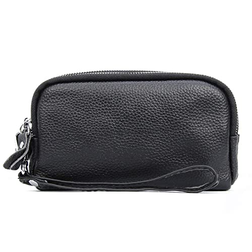 cfd05fc2ec DukeTea Triple Zippers Wristlet Wallet Small Clutch Purse Leather Cell  phone Bag Black