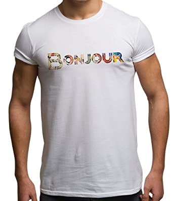 488a44022eb8d7 Slogan T Shirt Festival Top Bonjour France Quote T Shirts Mens Summer  Clothing  Amazon.co.uk  Clothing