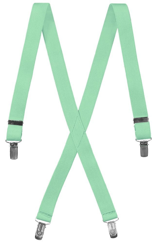 Boys Adjustable X-Back Elastic Suspenders (25'' Toddler, Mint Green)