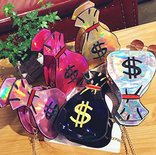 Messenger Shoulder Hologram Body Red Money Laser Cross Bag Design Handbags Purse PU bag Women's Pzvq66