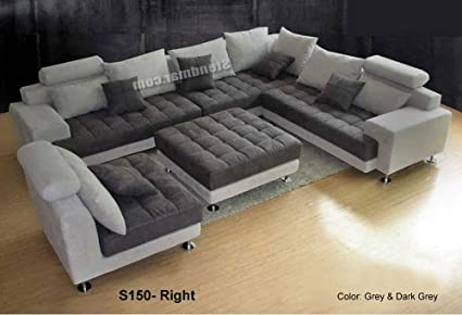 Amazon.com: 5PC NEW MODERN GRAY MICROFIBER BIG SECTIONAL SOFA SET ...