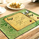 yazi Country Rustic Placemats Kitchen Dining Table Decoration Cotton Linen Heat Insulation Pads Set of 4 Butterfly