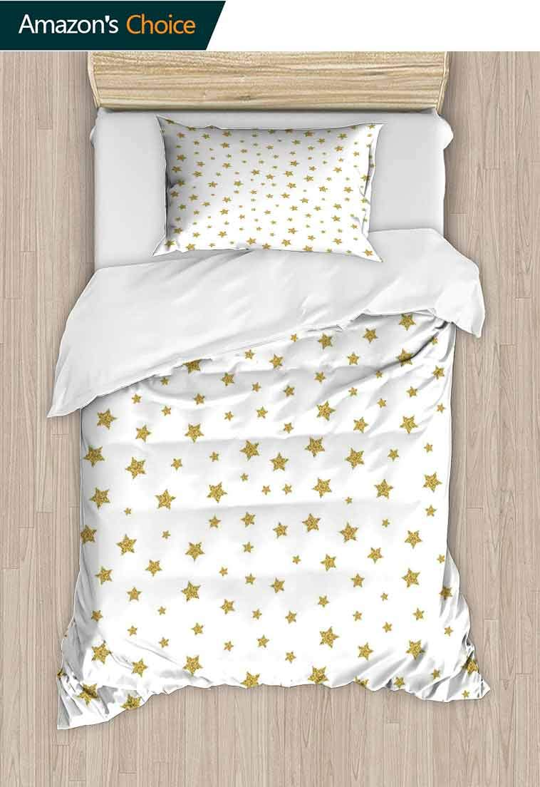 Star Printed Duvet Cover and Pillowcase Set, Golden Stars Pattern Illustration Creative Stylish, Bedding Set with Zipper Ties 1 Duvet Cover 1 Pillow Sham Ultra Soft Luxurious Breathable Gold White by carmaxshome