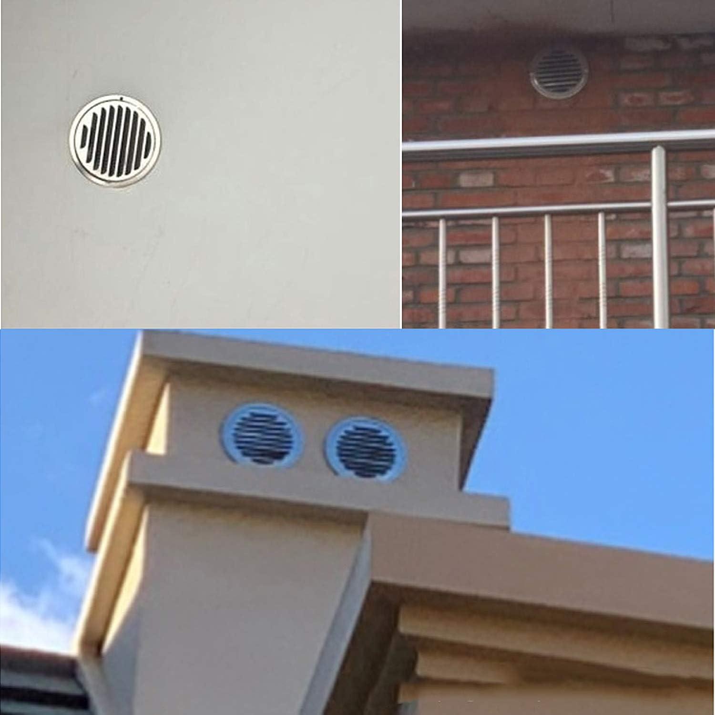 DESON Rejilla de Ventilaci/ón Redonda Respiraderos de L/áminas para Ba/ño Habitaci/ón Oficina Acero Inoxidable 100 mm