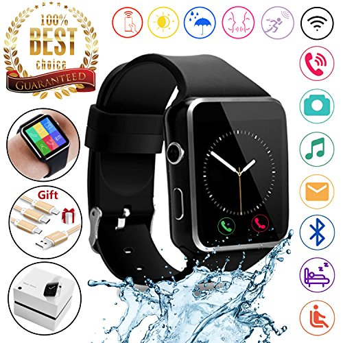 2018 Newest Bluetooth Smart Watch Touchscreen with Camera,Unlocked Watch Phone with Sim Card Slot,Smart Wrist Watch,Smartwatch Phone for Android Samsung S9 S8 IOS Iphone 8 7S Men Women Kids (BLACK) by JAVENSMARTEQT