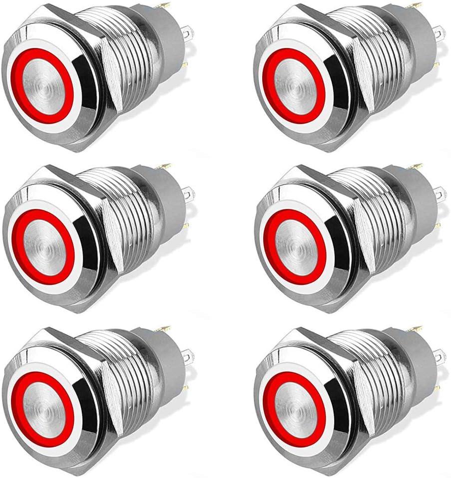 Rot Bkinsety 6 St/ücke 16mm Metall Verriegelung Druckschalte Wasserdicht LED Druckschalter Ein//Aus Latch Taste Schalter f/ür Auto RV LKW Marine