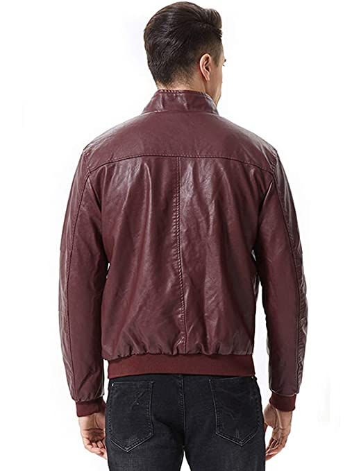 sunseen Mens Casual Vintage Outdoor Stand Collar Fur Lined Faux Leather Jackets Coat Bomber Jacket Outerwear