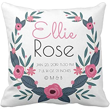 0d8bdf7bc8a2c Amazon.com: Throw Pillow Cover Floral Keepsake Personalized Baby ...