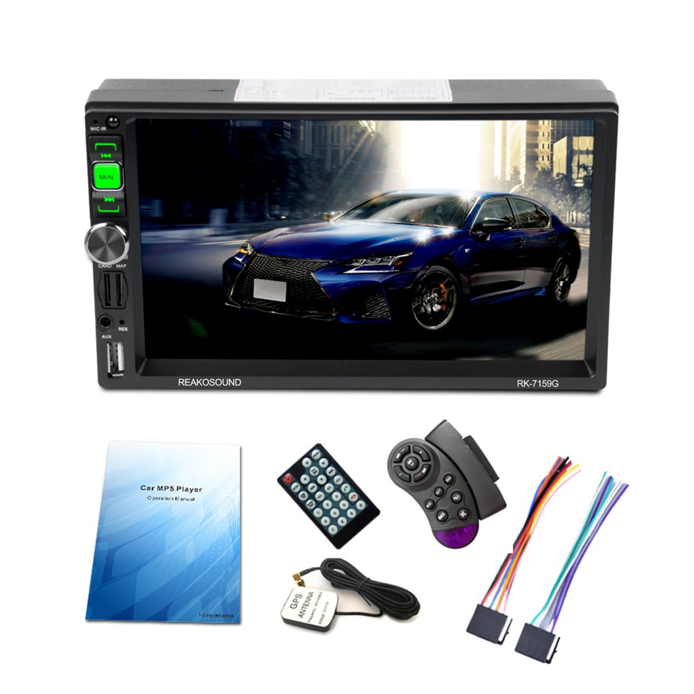 KKmoon Universal 7'Full HD 1080P Auto MP5 Player GPS Navigation BT AM/FM / RDS Radio Auto Multimedia Player RK-7159G mit GPS Navigation