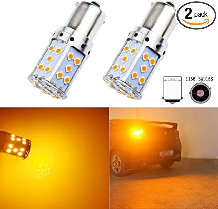 2pcs Car 1156 PY21W BAU15s 382 Amber//Orange Indicator Light Car Bulbs 12V DC 21W