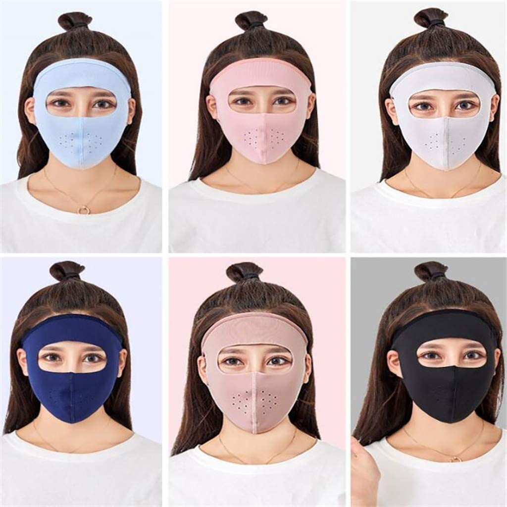 Summer Full Face Mask Sports Sun UV Protection for Men and Women,Ultra Thin Ice Silk Breathable Sunscreen Sun Hood Tactical Masks for Camping//Cycling//Motorcycling//Hiking White Size:22.5x15.5cm