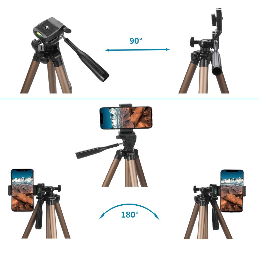 50-Inch iPhone Tripod Remote Lightweight Aluminum Tiitarn Phone Camera Tripod Bag Perfect Compatible Travel /& Phone /& Canon//Nikon//Sony Camera
