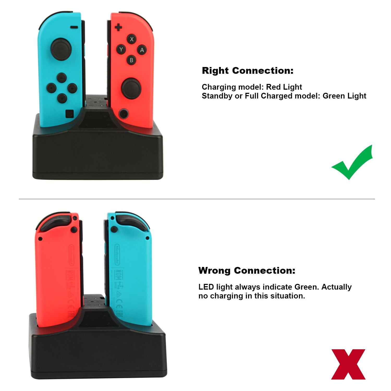 Nintendo Switch Joy-Con Charging Station Dock 4 in 1 USB Powered Nintendo Switch Charger Dock Stand with Individual LED Indication for Nintendo Switch Joncon Controllers with Type C Cable-Black