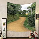 Gzhihine Custom tapestry Hobbits Tapestry Elf Path in Woods of Hobbit Land in The Shire New Zealand Hobbiton Movie Set Image Bedroom Living Room Dorm Decor Green Brown