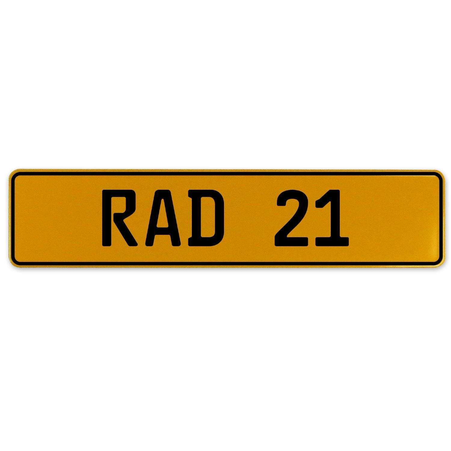 RAD 21 Vintage Parts 558974 Yellow Stamped Aluminum European Plate