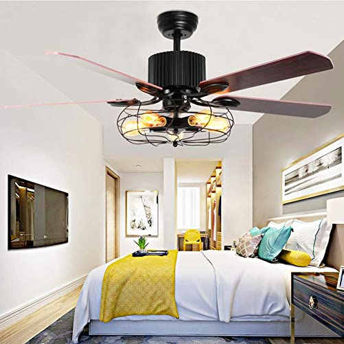 Retro Industrial Ceiling Fan Light 52 Inch 5-Lights E27 Fixture for Restaurant Living Room Bedroom Create Iron Cage Rustic Style