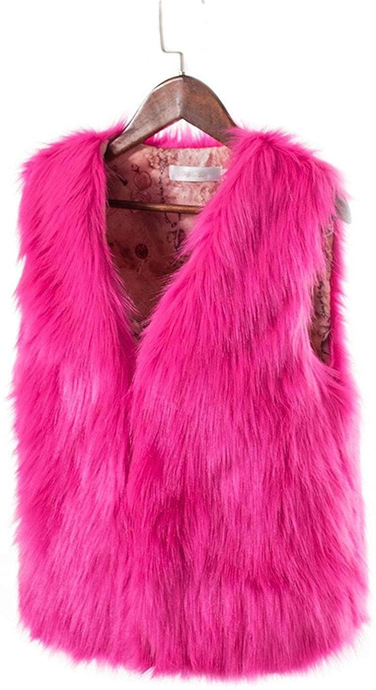 BAIHUODRESS Donna Gilet di Pelliccia Invernale Cappotto Senza Maniche Giacchetto Giubbotto Faux Fur Corto Giacca Parka Trench