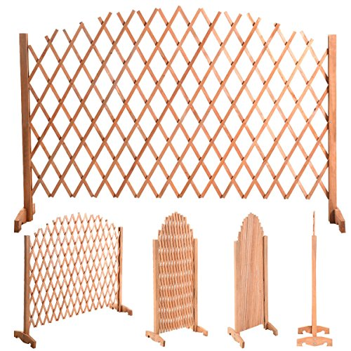 - 70 4/5 Expanding Portable Fence Wooden Screen Dog Gate Pet Safety Kid Patio Lawn