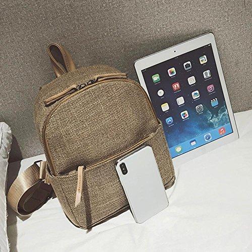 FINIFLY Schoolbag Travel Backpack Small Retro Camel Zipper for Straw bag Women Linen Shoulder Fashion WfZ7qFU