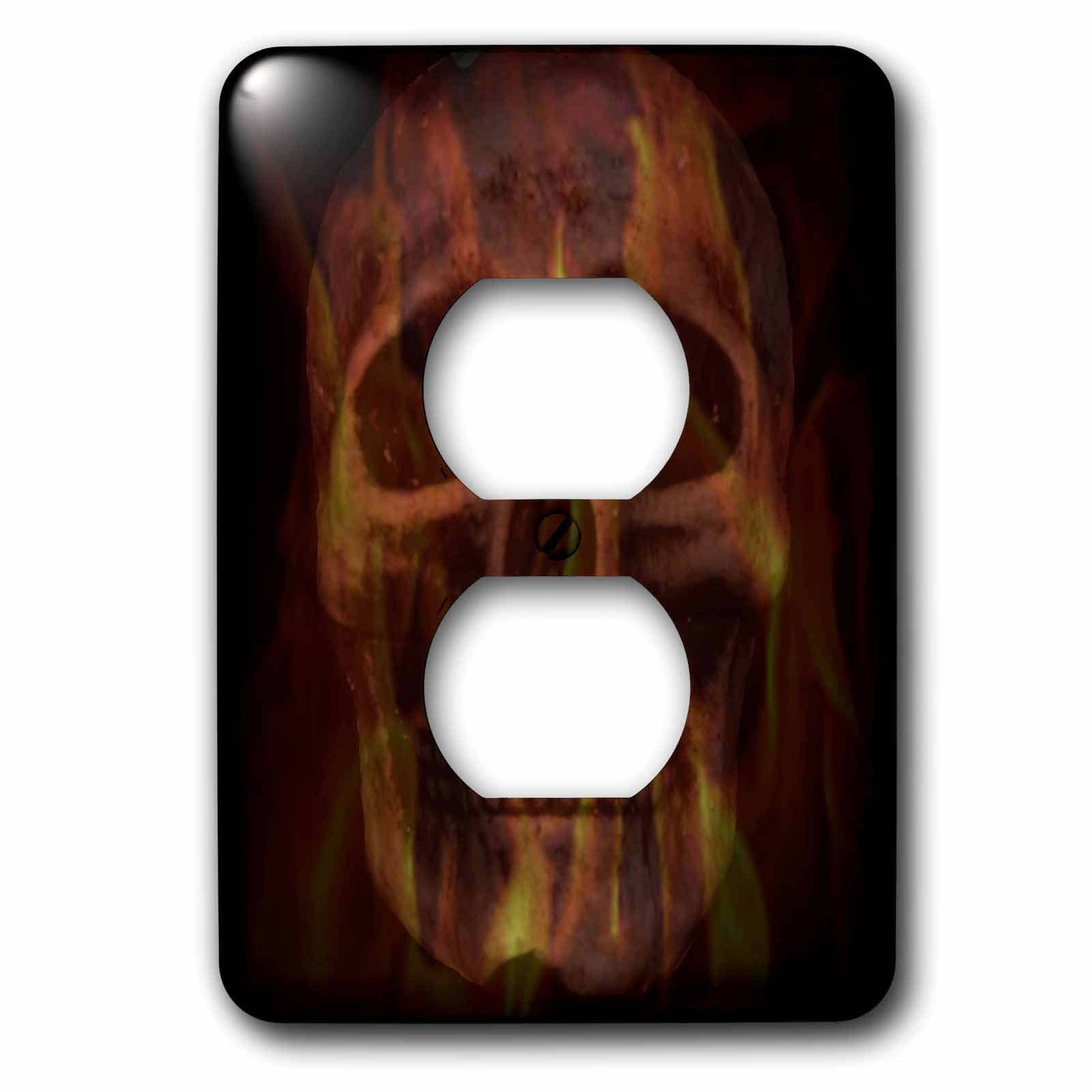 3dRose WhiteOaks Photography and Artwork - Skulls - Fire Skull is an art piece I did of skulls and overlaying fire - Light Switch Covers - 2 plug outlet cover (lsp_265363_6)