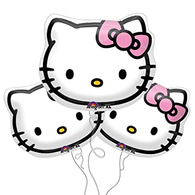 "Hello Kitty Face Foil Balloons 13""x15"" (Pack of 3): Toys & Games"