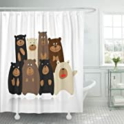 Emvency Decorative Shower Curtain Brown Animal Funny Bears Family Sketch for Your Design Character Company Cute 72 x72  Waterproof Mildew Resistant Bathroom Bathroom Curtains Set with Hooks