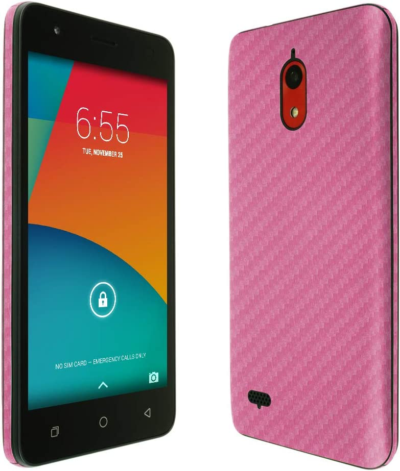 TechSkin with Anti-Bubble Clear Film Screen Protector Skinomi Pink Carbon Fiber Full Body Skin Compatible with Coolpad Illumina Full Coverage