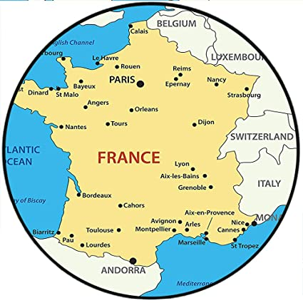 Map Of France Areas.Amazon Com Short Plush Round Area Rug Collection Map Of