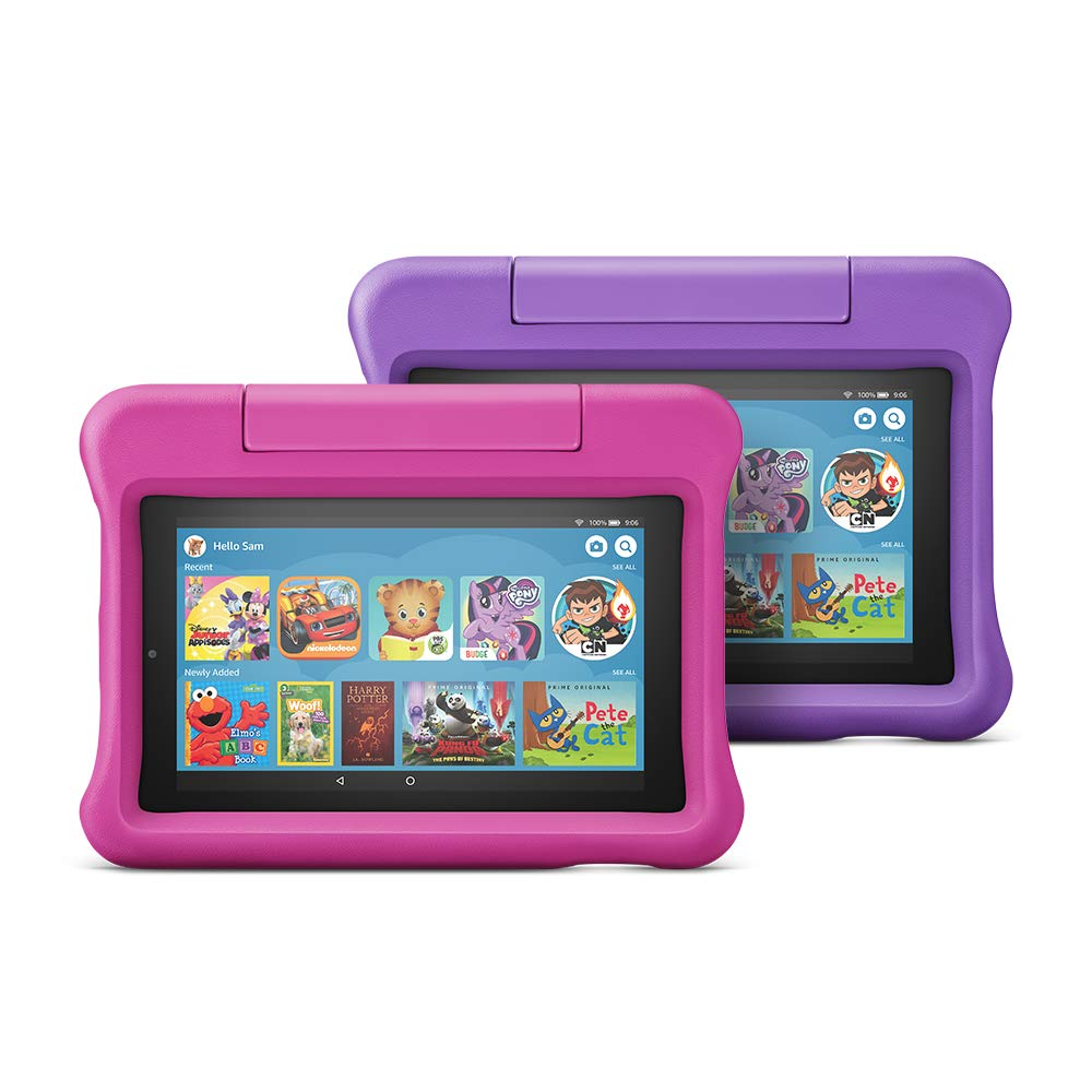 New Fire 7 Children`s Tablet 2 Packs, 16 GB, Pink/Purple Child Protector
