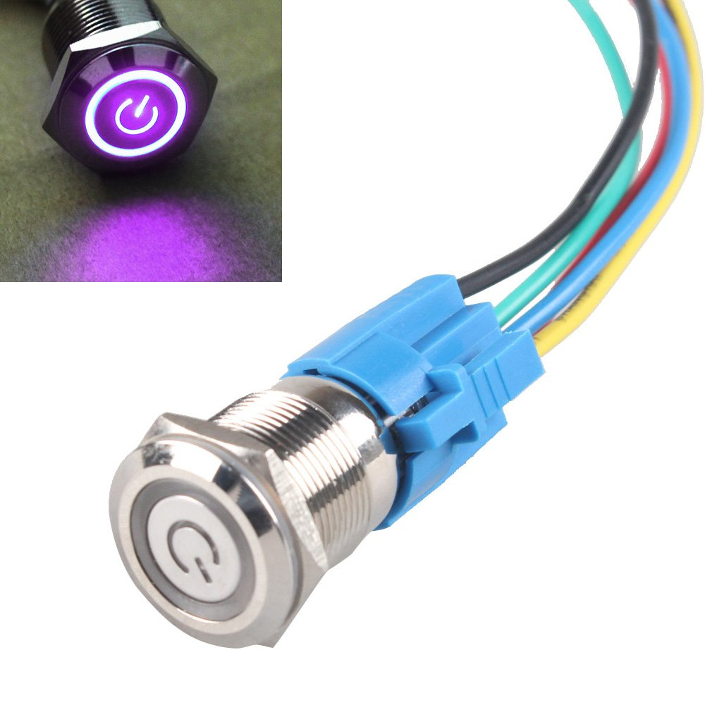E Support 19mm 12v 5a Power Symbol Angel Eye Halo Car Wiring Diagram 6 Besides Light Bulb Electrical L On Auto Purple Led Metal Push Button Toggle Switch Socket Plug Wire Automotive