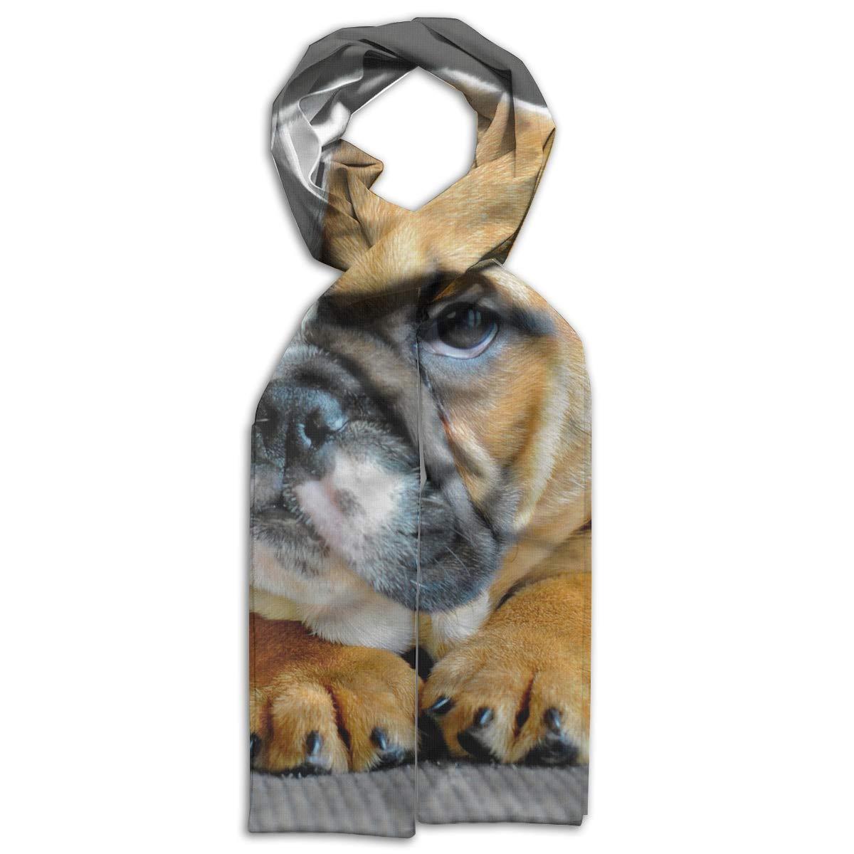 English Bulldog Puppy Dog Kids Girls Boys Scarf Warm Winter Soft Tassel Shawl Scarf
