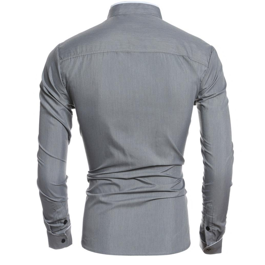 Men Dress Shirts Daoroka Cotton Casual Long Sleeve Work Wear Button Collar Blouse Slim Fit Fashion Comfort Business Tops T Shirt XL, Gray